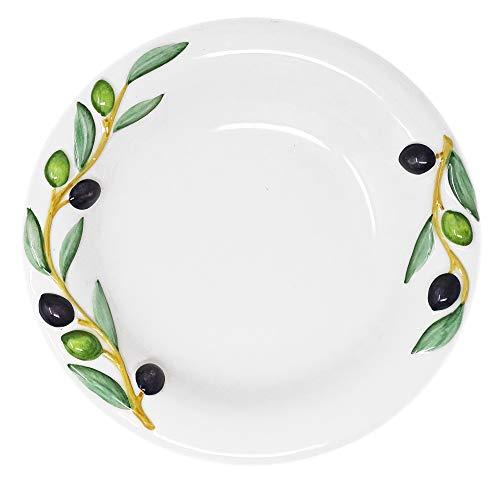 Lashuma Handgemachter Suppenteller aus Italienischer Keramik, Tiefer Teller Reliefdekor Oliven, Runder Essteller Größe 23 cm