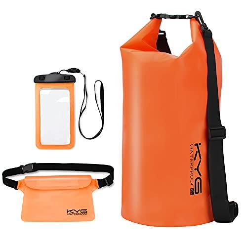 KYG Bolsa Estanca Impermeable 10L Set de Mochila Estanca con Funda de Móvil y Bolsa de Cintura, Bolsa Seca para Playa y Deportes al Aire Kayak Senderismo Esquí Pesca Escalada Camping, Naranja