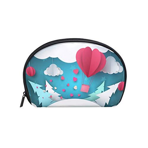 Bolsa de maquillaje de tela cruzada Forma de concha pequeña Bolsa de aseo Bolsa de almacenamiento para mujeres Origami Aerostat Nubes de abeto