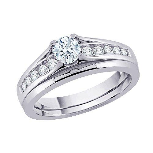 Juego de novia de diamante solitario en plata de ley (1/2 cttw) (Color-JK) (Claridad-SI2/I1)
