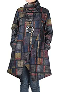 Mordenmiss Women s Plaid Tunic Tops Asymmetry Hem Long Sleeve Turtleneck Pullover  M,Blue