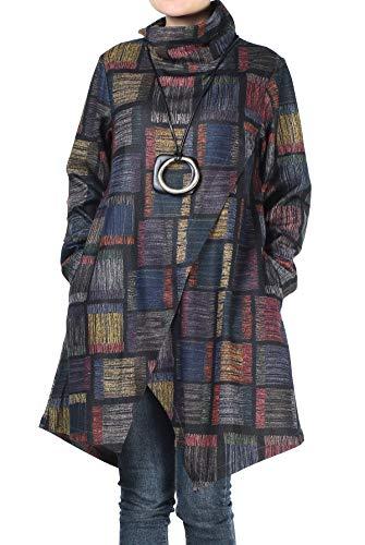 Mordenmiss Women's Plaid Tunic Tops Asymmetry Hem Long Sleeve Turtleneck Pullover (M,Blue)