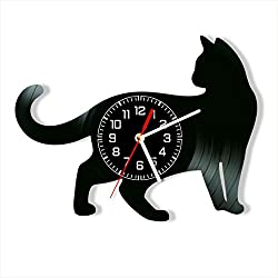 Cat Vinyl Clock, Cat Wall Clock 12 inch (30 cm), Original Gifts for Lovers Cats, The Best Home Decorations, Unique Art Decor, Original Idea for Home Decor