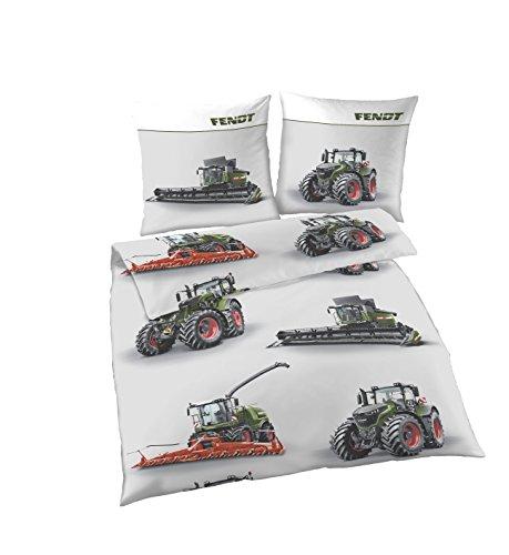 Traktoren Bettwäsche 135x200 Jungen | Traktor & Mähdrescher Design | Bettwäsche aus 100% Baumwolle | Set 2teilig | FENDT Biber Bettwäsche