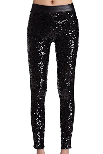 Zilcremo Damen Leggings Hosen Sequin Hohen Taille Pailletten Dünn In Voller Länge Gamaschen Hose Performance Black One Size