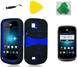 Black w Blue Hybrid Armor w Kickstand Phone Case Cover Cell Phone Accessory + EXTREME Band + Yellow Pry Tool + Stylus Pen + Screen Protector for AT&T Avail 2 / ZTE Avail 2 Z992