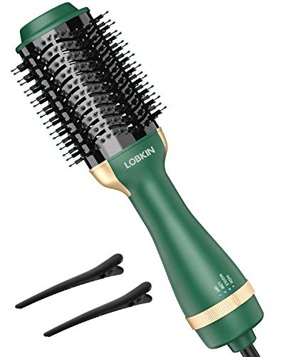 LOBKIN Hair Dryer Brush,One Step Hair Dryer Styler Volumizer Dry & Straighten & Curl Multi-Functional Salon Negative Ion Hair Straightener & Curly Hair Comb with Anti-Scald Feature Style (Green)