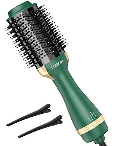 LOBKIN One Step Cepillo para secador de cabello, secador multifuncional, estilizador, voluminizador, secador, alisador y rizador, cepillo alisador y rizador de iones negativos con características anticalcáreas