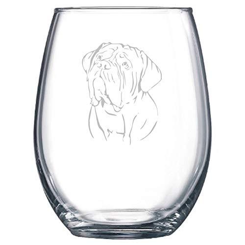 Dogue de Bordeaux DDB hondenliefhebber wijnglas cadeau Stemless beschikbaar gepersonaliseerd