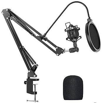 Microphone Arm Stand Desk,JEEMAK Adjustable Mic Desktop Stand for Most Microphone,Max Load 1.5 KG with Shock Mount,Pop Filter
