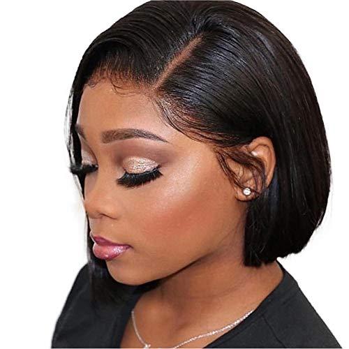 HAIRCARE Court Lace Front Cheveux Perruques pour Les Femmes Noires,Pré Plumé Cheveux Bébé Droit Brésilien Remy 13x4 Dentelle Fermeture Bob Lace Wig-b 8inches