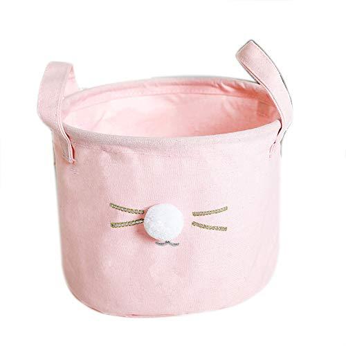 Fablcrew - Cestas de almacenamiento redondas para gato, diseño de gato, color rosa