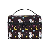Emoya - Bolsa de maquillaje con diseño de unicornios coloridos con estrellas y luna, organizador de maquillaje para hombres, mujeres y niñas