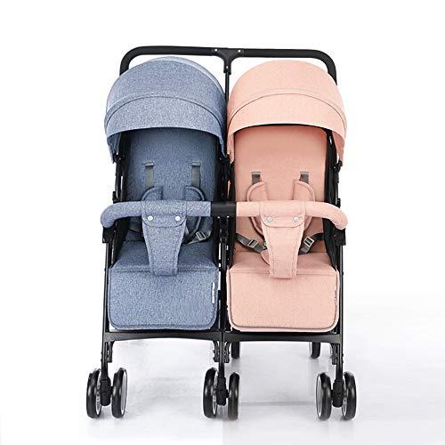 MYRCLMY Cochecitos de bebé Cochecitos Dobles Asiento Reversible Convertible en carrycot, Cochecito Ligero con Cuna Convertible Toldo extendido/Cesta de Almacenamiento Grande,Blue+Pink