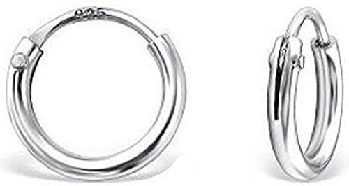 Schmuck Ohrschmuck Ohrringe Silber 925 Creolen winzig klein für Kinder 8 x 1,2 mm mit Steckverschluss Stecker Schmuckbox