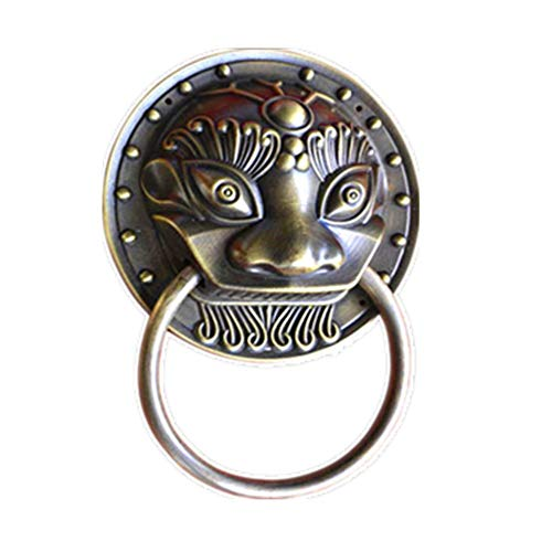 CuteLife Antique metal handle Heavy Duty Victorian Vintage Antique Brass Bronze Lion Head Door Knocker, Perfect For Country Cottage Modern Townhouse Manor Decoration Antique solid cast iron handle