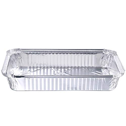 Ruiqas Foil Pans with Lids,Disposable Aluminum Foil Pan with Covers Great for Take-Out Cooking Roasting Baking.(125 pcs 450ML)