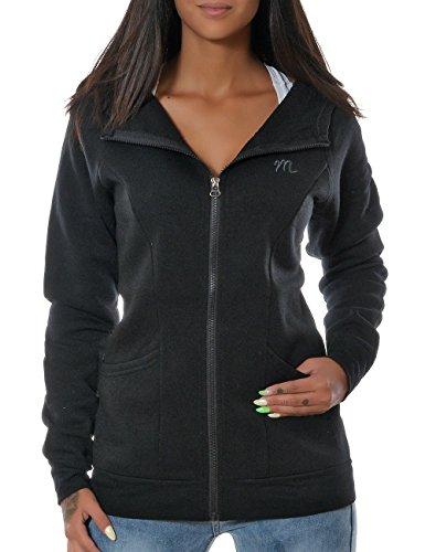 Daleus Damen Sweatshirt Langarm Pullover Oberteil Hoodie Zip No 14123 Schwarz S / 36