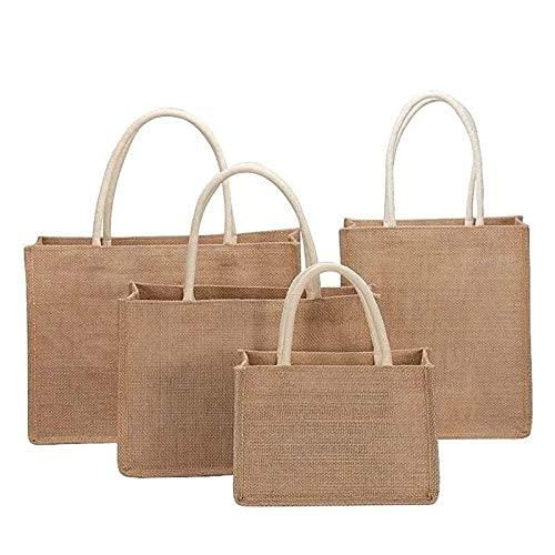 HAITAO 3 Pezzi di Lino Tote Bag Eco-Friendly Juta Borse a Tracolla per la Spesa da Donna Ideale per la Stampa e Il Ricamo Personalizzato su (4 Pezzi (A+b+c+d))