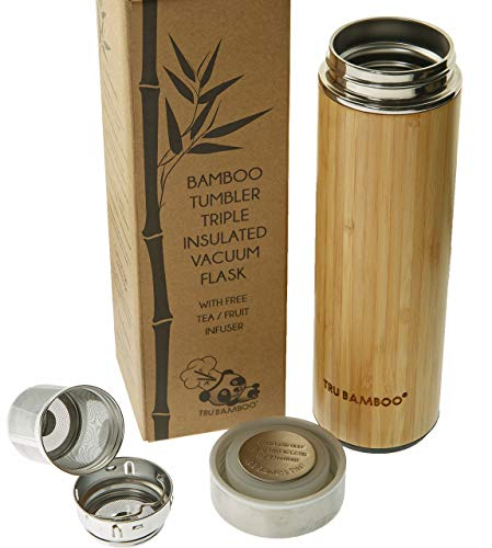 Largest Premium Real Bamboo and Stainless Steel Tumbler 530 ml / 18 fl oz | Triple Walled...