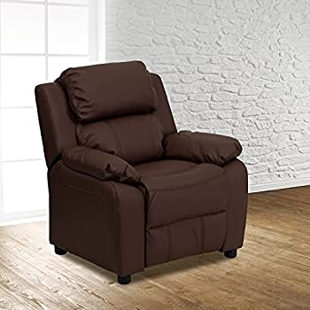 Flash Furniture Padded Contemporary Leather Recliner with Storage Arms