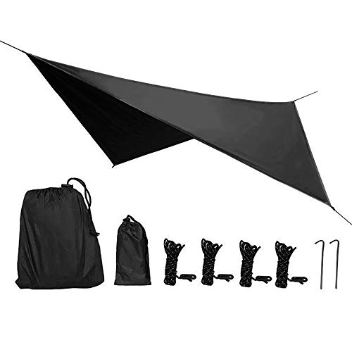 Phiroop Waterproof Camping tarp Hammock Rain Fly Tent Shelter Essential Survival Gear Sunshade Hiking Backpacking Approved PU 2000mm Multifunctional Outdoor Awning (Black)