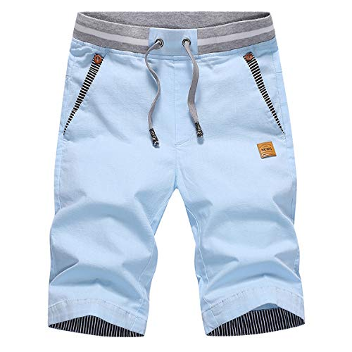 Tansozer Men#039s Shorts Casual Classic Fit Drawstring Summer Beach Shorts with Elastic Waist and Pockets Sky Blue XLarge
