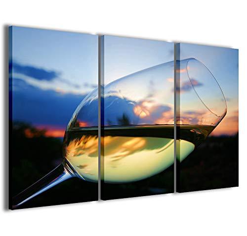 Stampe su Tela, White Wine Vino bianco Quadri Moderni in 3 pannelli già intelaiati, canvas, pronto per essere appeso, 100x70cm