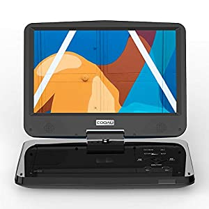 "Portable DVD Player with Advanced 10.5"" Swivel TFT Screen, 5H Rechargeable Battery, Support Dual Headsets, Region Free, SD Card & USB"