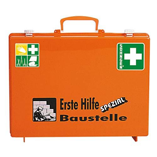 SÖHNGEN 0360101 Erste-Hilfe-Koffer Spezial Baustelle, Verbandskoffer mit Wandhalterung, orange, ASR A4.3/DIN 13157 aus Kunststoff, mit PRÜFPLAKETTE