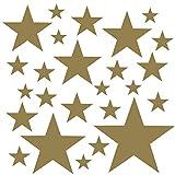 PREMYO 25 Estrellas Pegatinas Pared Infantil - Vinilos Decorativos Habitación Bebé Niños - Fácil de Poner Oro