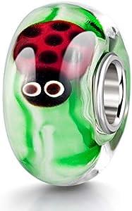 MATERIA objetos de cristal de murano Beads verde mariquita Element - 925 de plata con cuentas de vidrio verde # ittle 1006