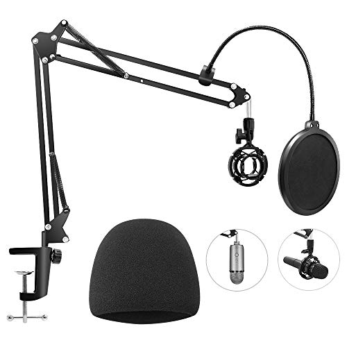 Heavy Duty Microphone Stand with Mic Windscreen and Dual Layered Mic Pop Filter, Geekroom Adjustable Microphone Suspension Boom Scissor with Shock Mount Mic Clip Holder (Black)