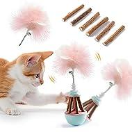 Dorakitten Cat Feather Toys Kitty Toys Interactive with 12 PCS Catnip Sticks Adjustable Kitten Toys ...