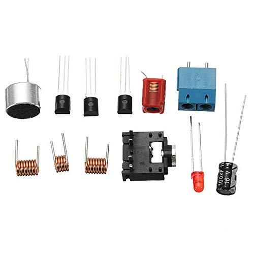 Modulo electronico Micro Transmisor FM kit de transmisor RF-02 de micrófono inalámbrico de piezas MP3 repetidor con la antena de la batería Holder 3 piezas