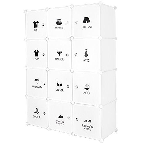 Meerveil Kunststoff Kleiderschrank Garderobenschrank Steckregal DIY Modular Schrank Regalsystem mit 2 Kleiderstange, für Kleidung Schuhe Spielzeug und Bücher (Weiß, 12-Kubus)
