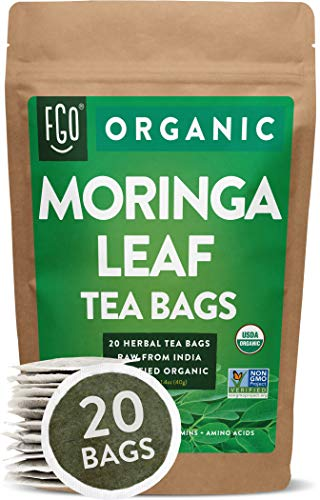 Organic Moringa Tea Bags | 20 Tea Bags | Eco-Conscious Tea Bags in Kraft Bag | Raw from India | by FGO