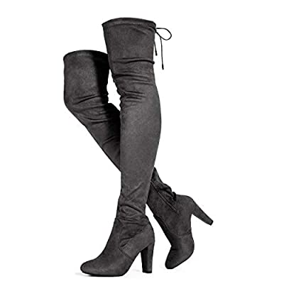 Women's Thigh High Over The Knee Block Chunky Heel Pointy Round Toe Boots Grey (8.5)