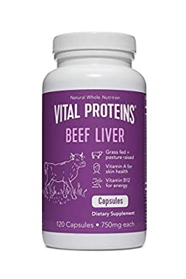 Vital Proteins Grass-Fed Desiccated Beef Liver Pills - (120 Capsules, 750mg Each)