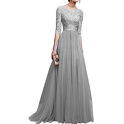 Women's Vintage Floral Lace 3/4 Sleeves Long Cocktail Bridesmaid Maxi Dress Floor Length Retro Formal Wedding Pageant Evening Prom Party Dance Gown Plus Size V-Neck Pleated Swing Dress Grey S