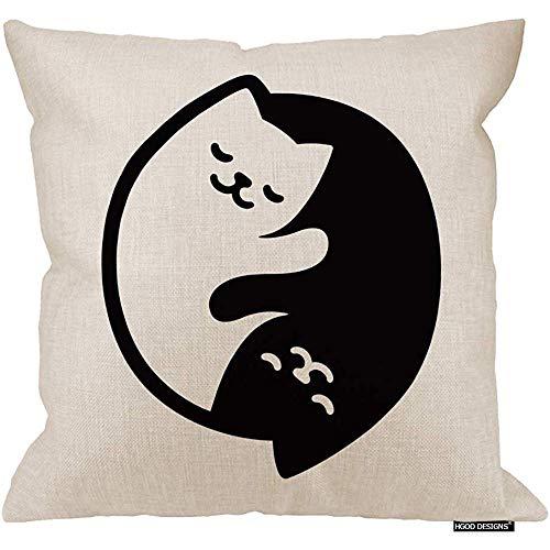 Marlon Kitty Cojín de Gatos, Lindos Gatos Blancos y Negros en Forma de cojín de Yinyang Funda de cojín