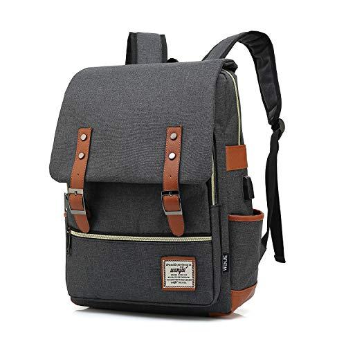 Vintage Backpack For Teen Girls Boys, Unisex Laptop Bag for Women Men, School College Bookbag Backpack With USB Charging Port (1-(Black USB))