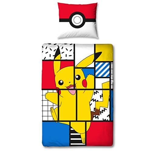 Character World Parure de lit au motif de Pokémon Pikachu, 135 x 200cm + 80 x 80cm, taille allemande, 100% coton, 2pièces, pour adolescent et enfant