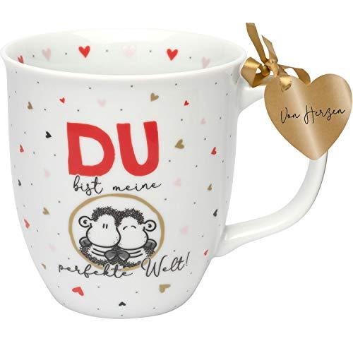 Sheepworld 46746 Kaffee-Tasse mit Sheepworld-Design, Du bist meine perfekte Welt, Porzellan, 40 cl