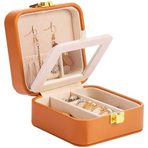 Kpcxdp Mini Caja de Acceso de Caja de joyería, Caja de Almacenamiento de Joyas de Cuero de PU de pequeño Viaje portátil (para Anillo, Pendientes, Primer Cuadro de Almacenamiento de Collar)