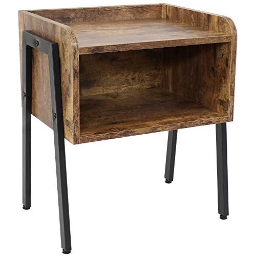 Sunnydaze Industrial Nightstand for Bedroom - Modern Rustic Style Stackable Faux Wood and Metal Bedside Table - Indoor End Table Furniture - 20-Inch - Rustic Brown
