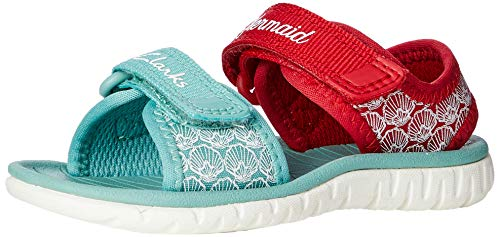 Clarks Surfing Sea T, Sandali a Punta Chiusa Bambina, Rosso (Red Interest Red Interest), 20 EU