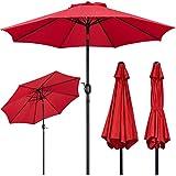 Yaheetech Sombrilla de Patio Sombrilla Jardin Terraza Proteccion UV Comercial Inclinable Plegable Parasol con Manivela para al Aire Libre Balcón Playa 270×240cm Rojo