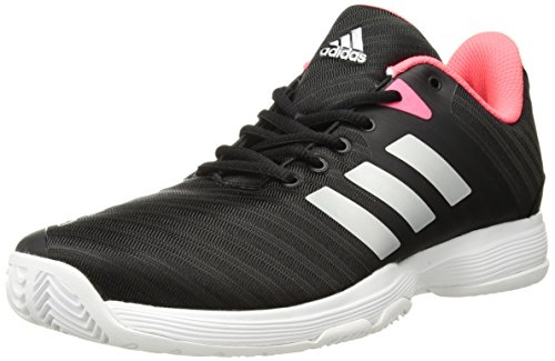 adidas Women's Barricade Court Tennis Shoe, Black/Matte Silver/Flash red, 11.5 M US