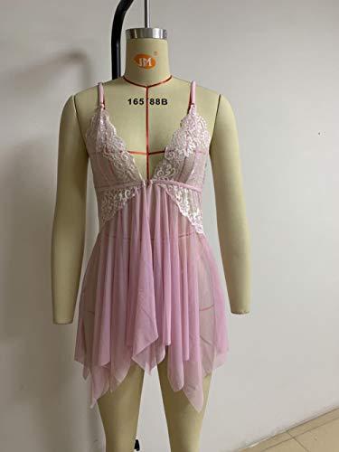 Z-NING Erotik Dessous Großhandel Erotik Pyjama Front offene zweifarbige Spitze unregelmäßigen Pyjama, Pink, XXXL